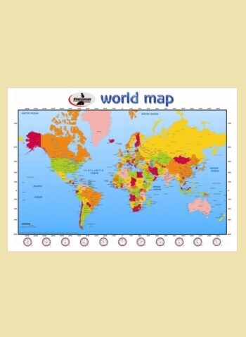 World Map Write and Wipe Educational Posters